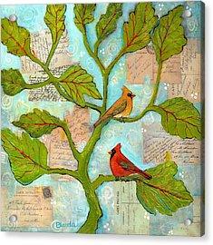 Cardinal Love Notes Acrylic Print by Blenda Studio