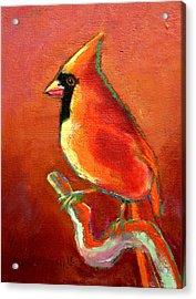 Cardinal On Red Acrylic Print