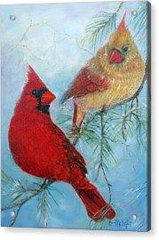 Cardinal Pair Acrylic Print by Loretta Luglio
