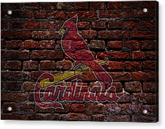 Cardinals Baseball Graffiti On Brick  Acrylic Print