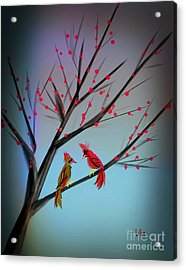 Cardinals In The Flowering Crab Acrylic Print