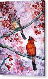 Cardinals  Acrylic Print by Zaira Dzhaubaeva