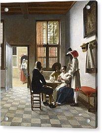 Cardplayers In A Sunlit Room Acrylic Print by Pieter de Hooch