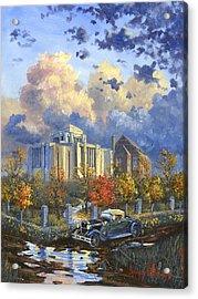 Cardston Alberta Canada Temple Acrylic Print by Jeff Brimley