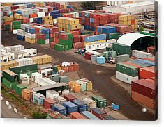 Cargo Containers In A Freight Yard Acrylic Print
