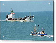 Cargo Ship And Fishing Boat Acrylic Print by Christophe Vander Eecken/reporters/science Photo Library
