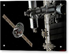 Cargo Ship Approaching The Iss Acrylic Print