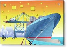 Cargo Ship At A Dock Acrylic Print