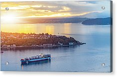 Cargo Ship Through Puget Sound In Sunset Acrylic Print by Onest Mistic