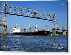 Cargo Ship Under Bridge Acrylic Print by Olivier Le Queinec