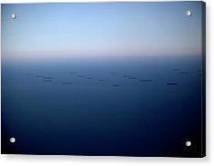 Cargo Ships Out At Sea Acrylic Print