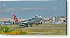 Acrylic Print featuring the photograph Cargolux 747-8f by Jeff Cook