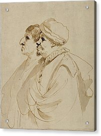 Caricature Of Two Men Seen In Profile Guercino Giovanni Acrylic Print by Litz Collection