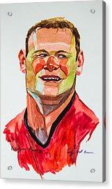 Caricature Wayne Rooney Acrylic Print by Ubon Shinghasin