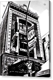 Acrylic Print featuring the photograph Carlos And Pepe's Montreal Mexican Bar Bw by Shawn Dall