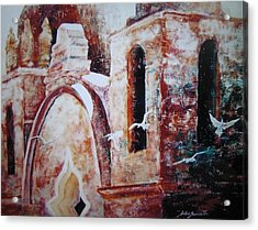 Acrylic Print featuring the painting Carmel Mission by John  Svenson