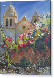Carmel Mission Acrylic Print by Mary Hubley