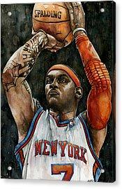 Carmelo Anthony Acrylic Print by Michael  Pattison