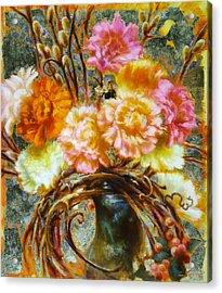 Carnation And Bee Acrylic Print by John Murdoch