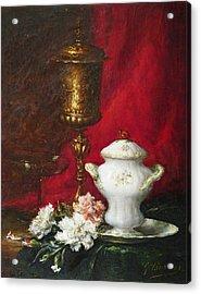 Carnations And Sugar Bowl Acrylic Print