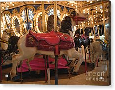 Carnival Festival Merry Go Round Carousel Horses  Acrylic Print by Kathy Fornal