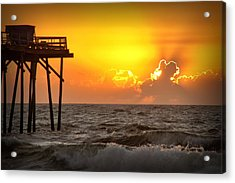 Carolina Beach Fishing Pier Sunrise Acrylic Print