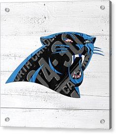 Carolina Panthers Football Team Retro Logo Recycled North Carolina License Plate Art Acrylic Print by Design Turnpike