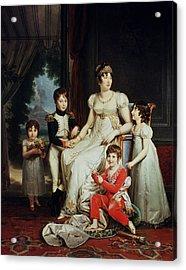Caroline Bonaparte 1782-1839 And Her Children Oil On Canvas Acrylic Print by Francois Pascal Simon, Baron Gerard