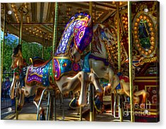 Carousel Beauties Ready To Ride Acrylic Print by Bob Christopher