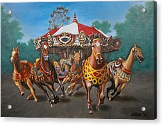 Acrylic Print featuring the painting Carousel Escape At The Park by Jason Marsh