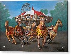 Carousel Escape At The Park Acrylic Print by Jason Marsh