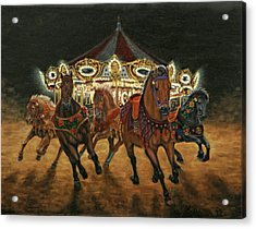 Acrylic Print featuring the painting Carousel Escape At Night by Jason Marsh