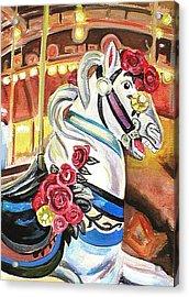 Carousel Horse Acrylic Print by Melinda Saminski