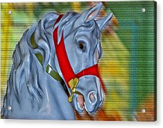 Carousel Horse Red Bridle Acrylic Print by Thomas Woolworth