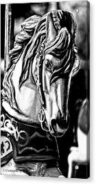 Carousel Horse Two - Bw Acrylic Print