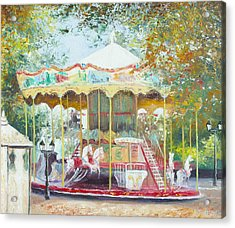 Carousel In Montmartre Paris Acrylic Print