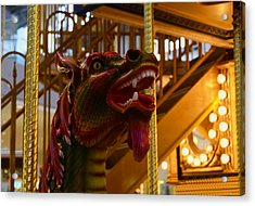 Acrylic Print featuring the photograph Vintage Carousel Red Dragon - 2 by Renee Anderson