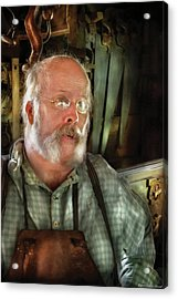 Carpentry - The Carpenter And His Workshop Acrylic Print by Mike Savad