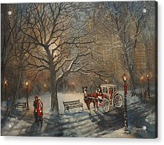 Carriage Ride In Central Park Acrylic Print by Tom Shropshire