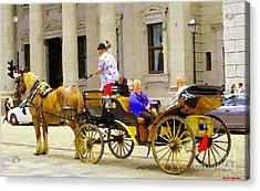 Carriage Ride On Cobblestones Rue Notre Dame Tan Horse Golden Caleche Old Port Quebec Scene Cspandau Acrylic Print by Carole Spandau
