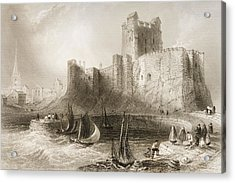 Carrickfergus Castle, County Antrim, Northern Ireland, From Scenery And Antiquities Of Ireland Acrylic Print by William Henry Bartlett