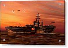 Carrier Ops At Dusk Acrylic Print