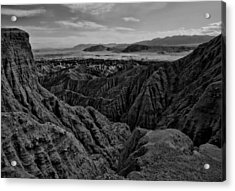 Acrylic Print featuring the photograph Carrizo Badlands Bw Nov 2013 by Jeremy McKay