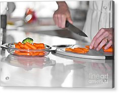 Acrylic Print featuring the photograph Carrot Cutting In Kitchen by Gunter Nezhoda