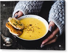 Carrot Pumpkin Cream Soup With Garlic Bread Acrylic Print by Arx0nt
