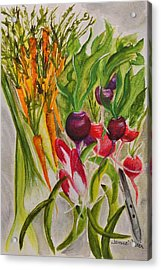 Carrots And Radishes Acrylic Print by Jamie Frier