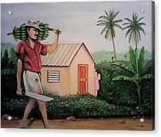 Carrying Plantain Acrylic Print by Ramon Lopez Collazo