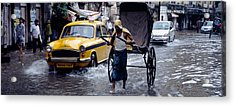 Cars And A Rickshaw On The Street Acrylic Print by Panoramic Images