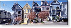 Cars Parked In Front Of Victorian Acrylic Print by Panoramic Images
