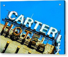 Carter Hotel Sign Acrylic Print by Jon Woodhams